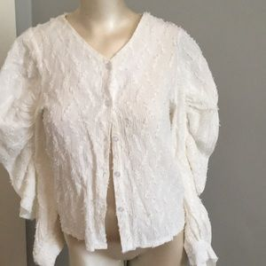 Ghospell  blouse funky sleeves cotton/linen